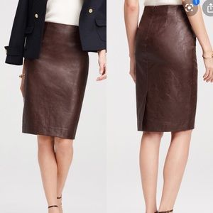 Ann Taylor Plum/Wine Faux Leather Pencil Skirt
